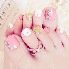24Pcs Pro Foot Pink False Nail Tips Rhinestone Fake Toes Nails Toe Art Acrylic