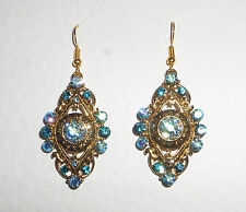 LARGE GOLD PLATED MARQUIS earrings BLUE & TURQUOISE SPARKLY CRYSTAL...  HOOK