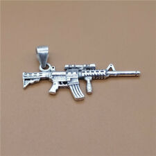 Sterling Silver Solider Military Weapon Small Sniper Rifle Gun Charm Pendant