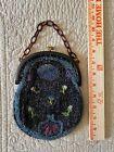 Antique Vintage Deco Micro Beaded Evening Bag Purse Bakelite Chain Mirror 1920's