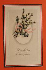 Präge Litho AK die besten Ostergrüße 1914-18 Palmzweig Palmkätzchen Glocken