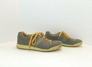 Ecco Gray Leather Spikeless Lace Up Golf Shoes Men's EU 42/ US Sz 8-8.5 Orange