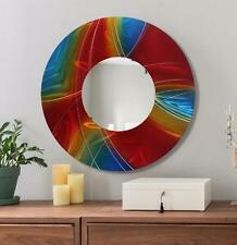 "Large Round Wall Mirror Handmade Functional Wall Art Red, Blue - 23"" - Jon Allen"