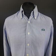 LA MARTINA Mens Oxford Shirt LARGE Long Sleeve Blue Regular Fit Cotton