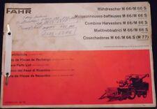 Fahr Mähdrescher M 66 , M66 S Ersatzteilliste