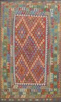 Pastel Color Geometric Kilim Oriental Area Rug Reversible Wool Hand-woven 7'x10'