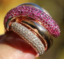 EFFY 14k Rose Gold Red Ruby & Diamond Woven Braid Dome Ring Size 8.75 16.7g