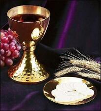 """Solid Brass Catholic Mass Altar Chalice w Paten & Casted Node 7 3/4"""" H Gift"""