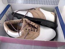 Mens VINTAGE Dunlop LEATHER SADDLE Oxford Golf Shoes Size 7 M Spikes