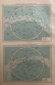 1899 Celestial Star Chart Original Antique Map by Richard Andree