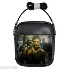 Daryl Dixon Walking Dead Black Leather Sling Crossbody Bags Wallet Purse
