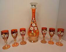 6 Likörgläser Karaffe Bohemia orange  Emaillemalerei Blumen Ranken Schnapsglas