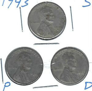 1943-D+P+S Circulated WW11 Business Strike One Cent Coins!