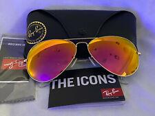 Ray Ban RB3026 Aviator Unisex Sunglasses 62MM Gold Frame/cyclamen Mirror Lens