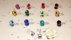 Silver Plated Milled Edge Drop Leveback Earrings  10mm Resin Stone Choose Colour