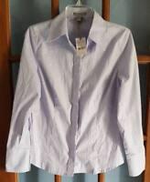 Womens Sz M Isabella Rodriguez Solid Light Blue Button Down Shirt Blouse NWT