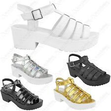 LADIES CHUNKY PLATFORM HEEL STRAPPY SANDALS WOMEN GLADIATOR BLOCK SHOES SIZE 3-8