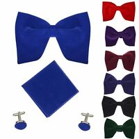 Mens Velvet Adjustable Large Bowtie Cufflink Hankie Wedding Party Smart Neck Tie