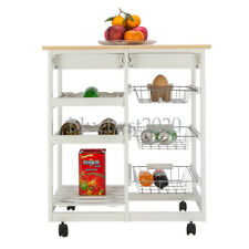 New listing Fch Moveable Kitchen Cart with Two Drawers & Two Wine Racks & Three Baskets