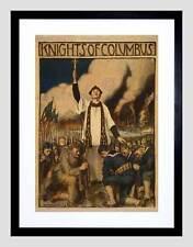 WAR WWI KNIGHTS COLUMBUS CATHOLIC SOCIETY BLACK FRAMED ART PRINT B12X6018