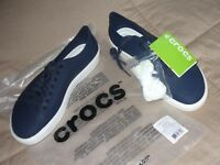 10d968815 Men s Crocs Citilane Roka Court Sneakers Navy White Sz 9 100% AUTHENTIC NWT