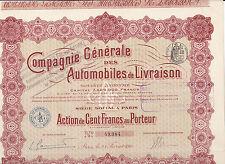 Compagnie Generale des Automobiles de Livraison-Action 100 Francs-1914