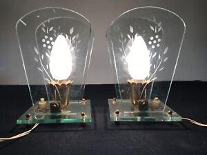 Coppia abat-jour lampade comodino vetro art Decó Gio Ponti Chiesa Fontana Arte
