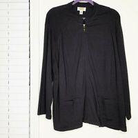 Talbots Black Zip Up Activewear Jacket Women's Plus Size 3X Workout Athleisure