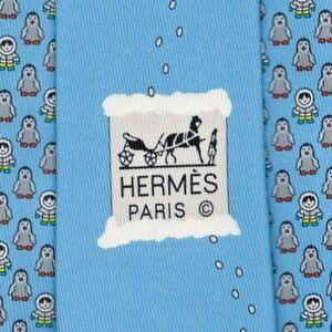 "Warm Up New Tag Hermes Tie Lt Blue ""PINGLOO Eskimo"" Rare Ltd Edition Mint!"