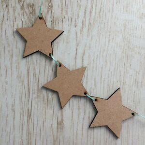 Wooden Bunting - STAR - Nursery, Bedroom, Christening - Baby - FREE RIBBON
