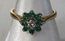 OLD VINTAGE 18CT GOLD DIAMOND EMERALD  RING - STAMPED 18CT