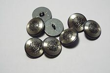 8pc 15mm Pewter Silver German Style Metal Military Blazer Cardigan Button 2872