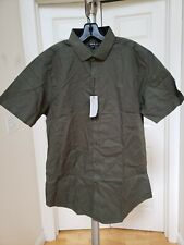 NEW Mens GALAXY Button Up Short Sleeve Shirt Size Large Slim Fit NWT