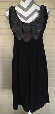 Nic&Dom Little Black Rosette Dress Size Ladies Med Sleeveless US SELLER LBD