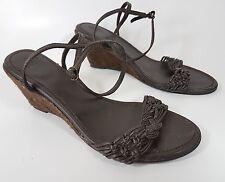 Zara brown leather wedge sandals uk 4 eu 37