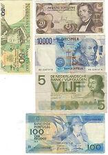 Europe lot 5 billets Italie, Autriche, Pays-Bas, Portugal, Pologne / set 5 notes