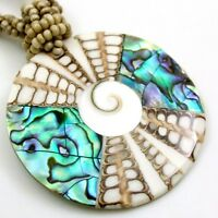Natural Paua Abalone Shell Shiva Eye Pendant Beads Necklace Women Jewelry AA401