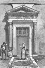 ROME. Door of Santa Pudenziana 1872 old antique vintage print picture