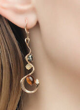 New Gold Over 925 Sterling Silver  Natural Baltic Amber Earrings  Russian Brand