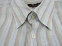 Canali Brown Label Linen Stripe Straight Bottom Shirt Size XL Made in Italy
