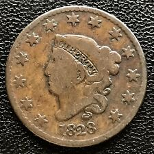 1828 Large Cent Coronet Head One Cent 1c  #6111