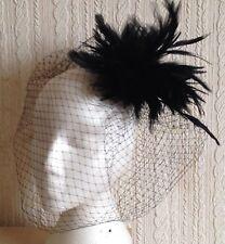 black feather fascinator black french veiling veil hair clip brooch headpiece