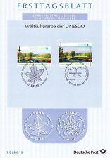 BRD 2012: Muskauer Park! Ersttagsblatt der Nr. 2944! Plus Parallelausgabe!  1702