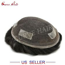 Full Lace Mens Toupee Black And Gray Hair Replacement System Men Hairpiece