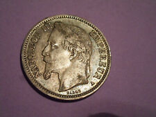 "FRANCE I FRANC 1868 ""A"" NAPOLEON III XF .835 SILVER"