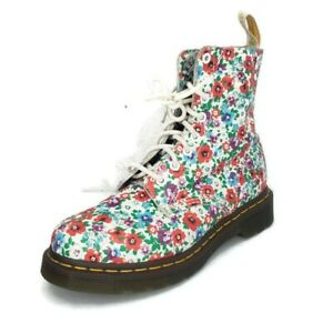 Dr. Martens Womens Size 7 US Pascal Wild Poppy Floral Combat Leather Boots RARE