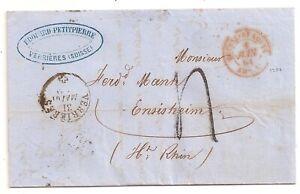 LETTRE COVER,LAC,Suisse,VERRIERES 31/5/61,Entrée 1264 St Louis,Ensisheim,Taxe 4d