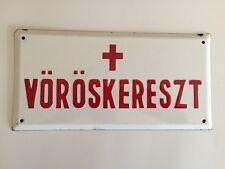 Authentic Vintage Budapest Hungary Enameled Red Cross Sign VŐRŐSKERESZT