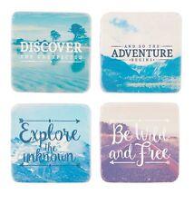 Sass & Belle Set of 4 Retro Pastel Wanderlust Adventure Saying Coasters 10x10cm