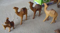 "Lot of 4 Vintage Hand Carved Wood Walking Camel Figurines 2 3/4 to 4"" Tall"